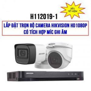 Lắp đặt trọn bộ 2 camera HIKVISION HD1080P có tích hợp Mic